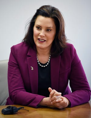 Gov. Gretchen Whitmer meets with The Detroit News' editorial board at Cadillac Place in Detroit, Monday.
