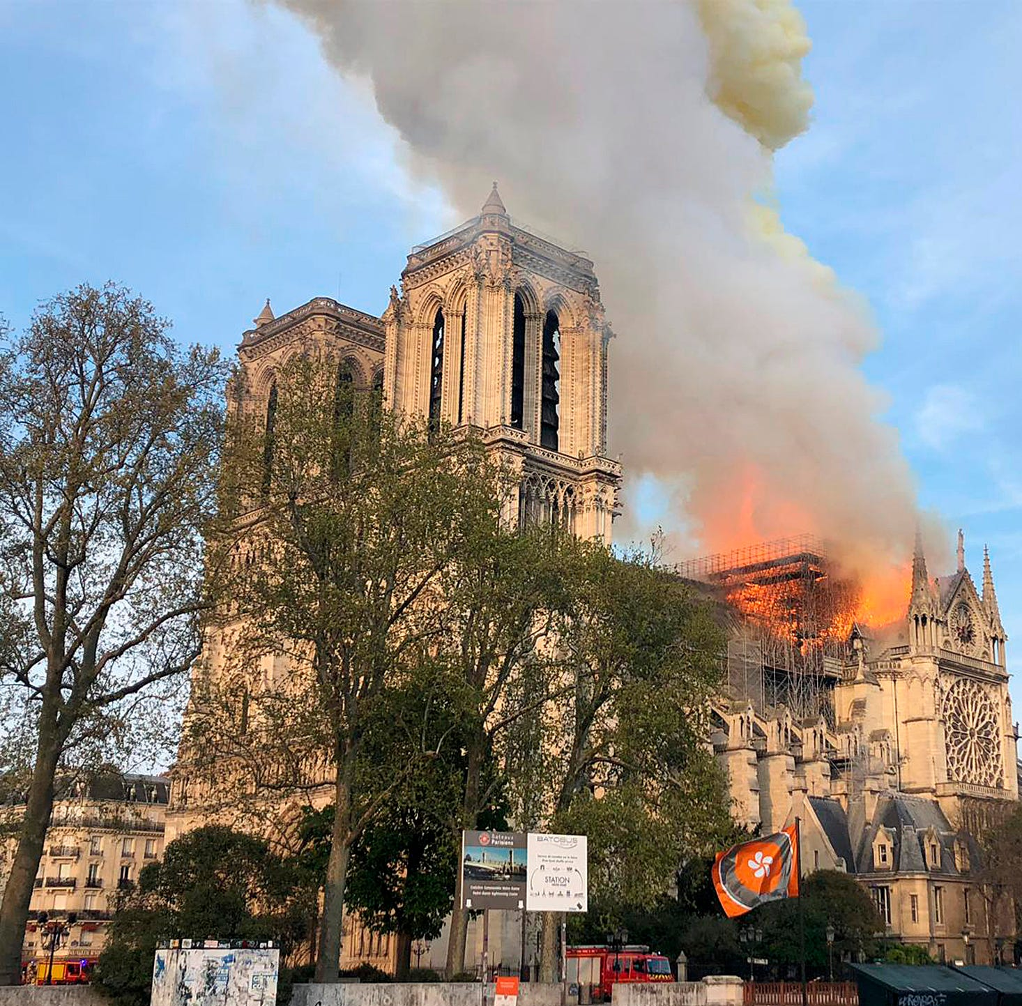 Fire burns Paris' Notre Dame cathedral