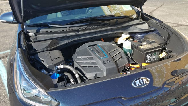 The 2019 Kia Niro EV packs its electric motor and other electronics under the front hood, where you'll find the gas engine in a standard Niro.