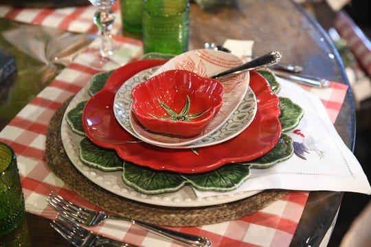 Bring the picnic indoors with red hues and checked patterns for a whimsical take on dinner.
