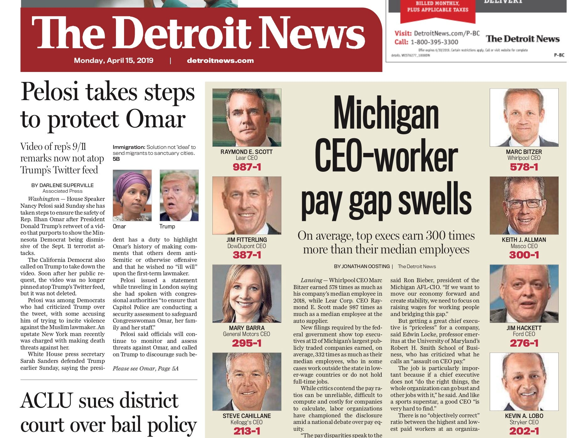 The front page of the Detroit News on April 15, 2019.