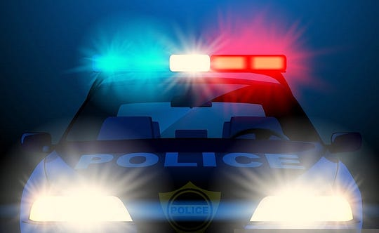 Police car in night with lights in frontal view. Vector illustration