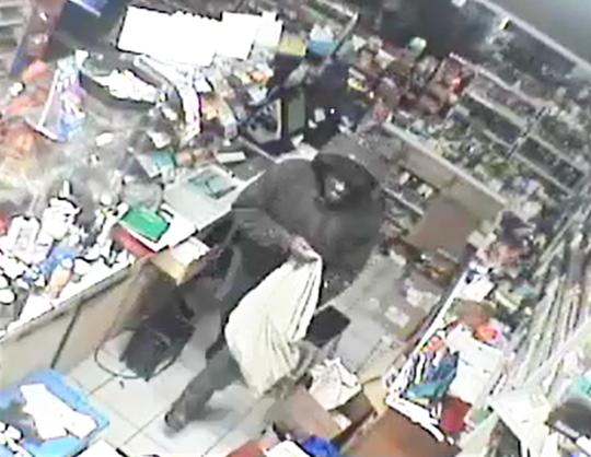 Elmira police released this surveillance photo of a burglary suspect in a West Church Street Mobil station on Monday morning.