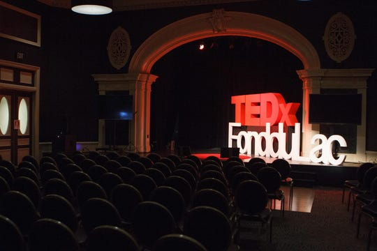 The TEDxFondduLac stage 2018 event at Thelma Sadoff Center for the Arts.