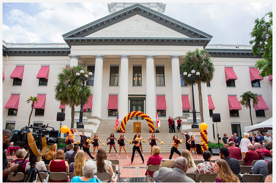 The Seminole Sound and FSU Cheerleaders perform at FSU Day at the Capitol on April 9, 2019.