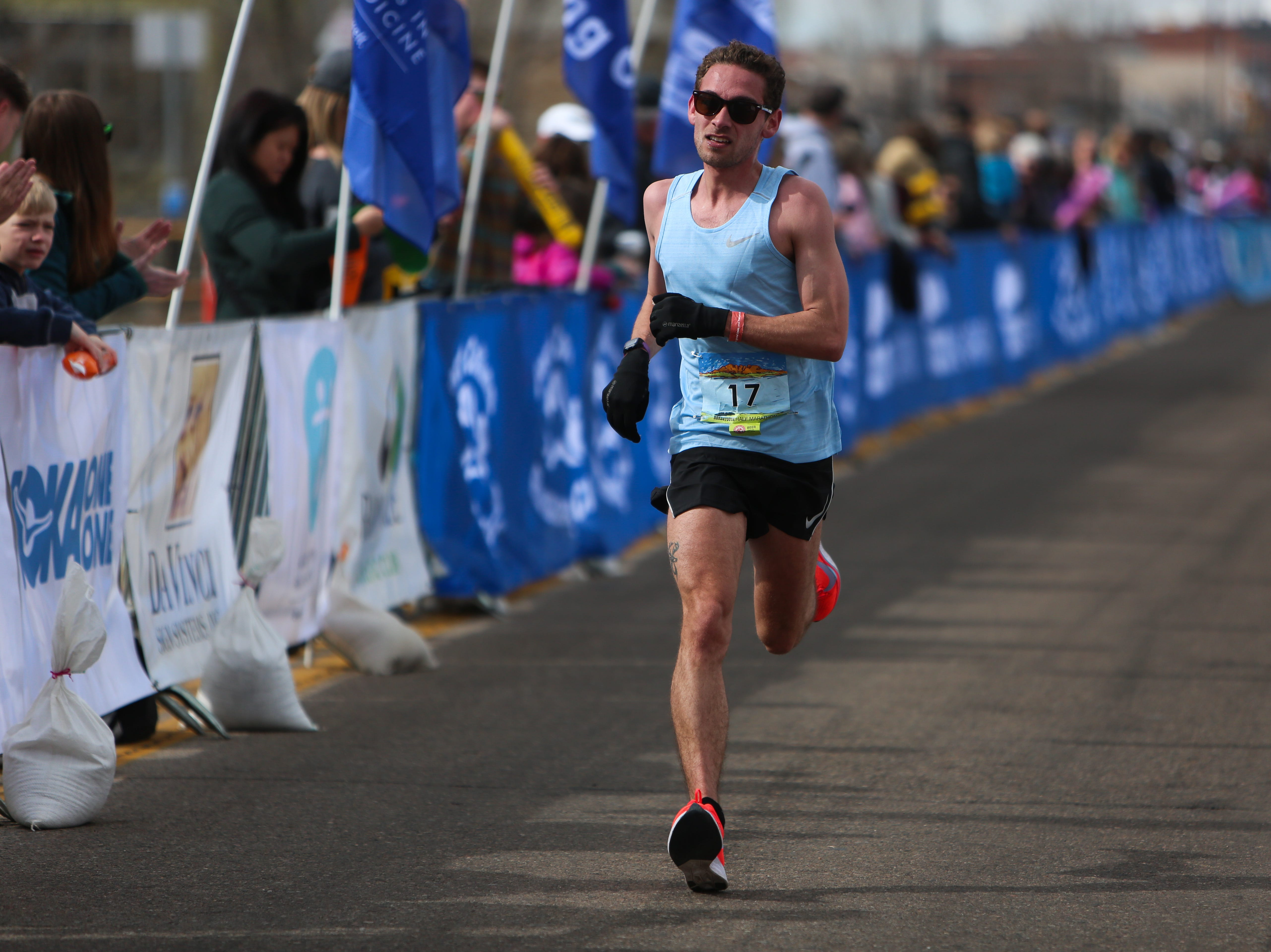 Alex Mauro finishes the Horsetooth Half Marathon on April 14.