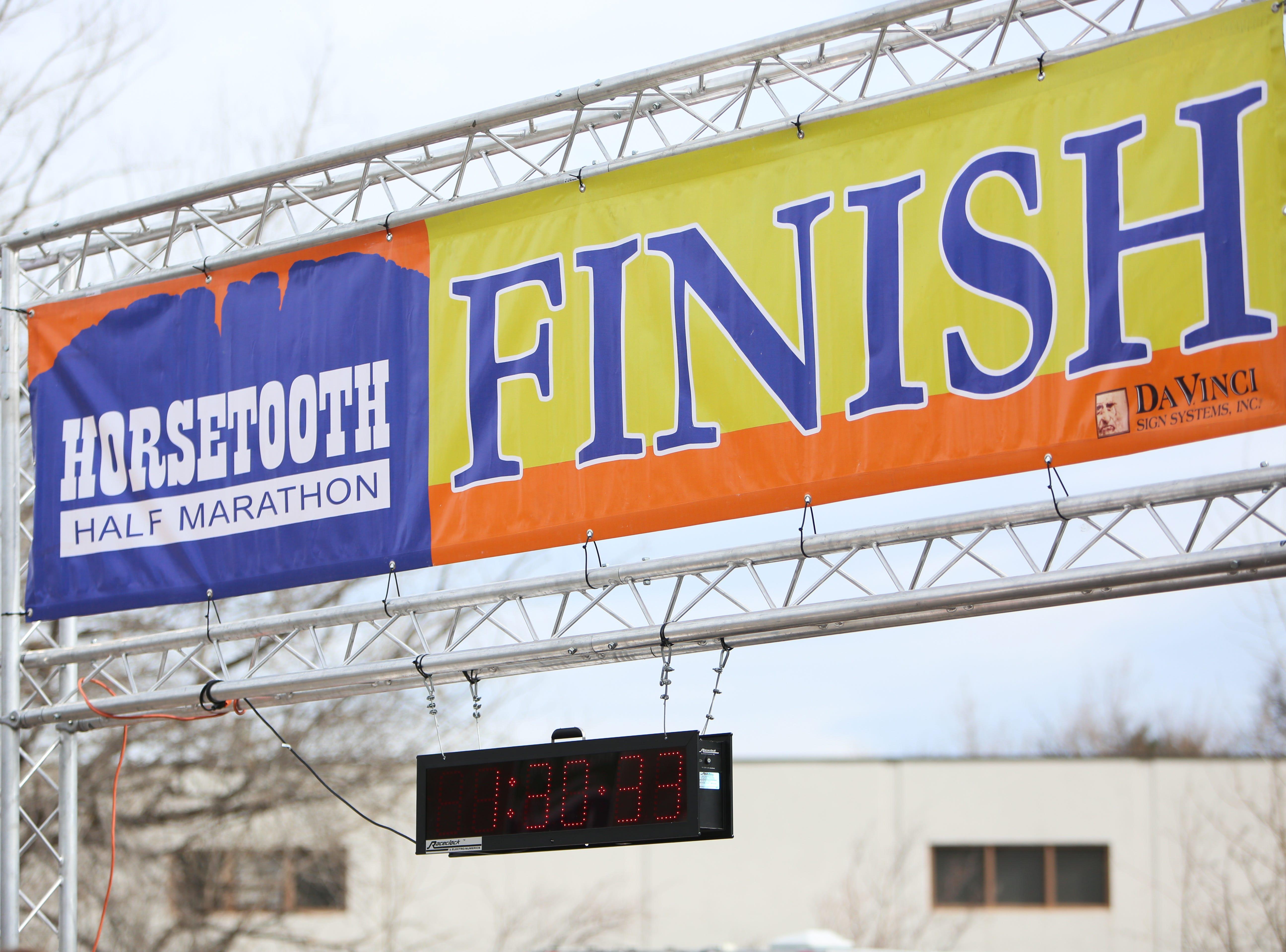 The finish line at the Horsetooth Half Marathon seen outside New Belgium.