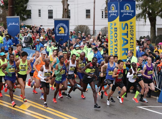 Apr 15, 2019; Boston, MA, USA; General view of the start of the men's elite group during the 2019 Boston Marathon. Mandatory Credit: Paul Rutherford-USA TODAY Sports
