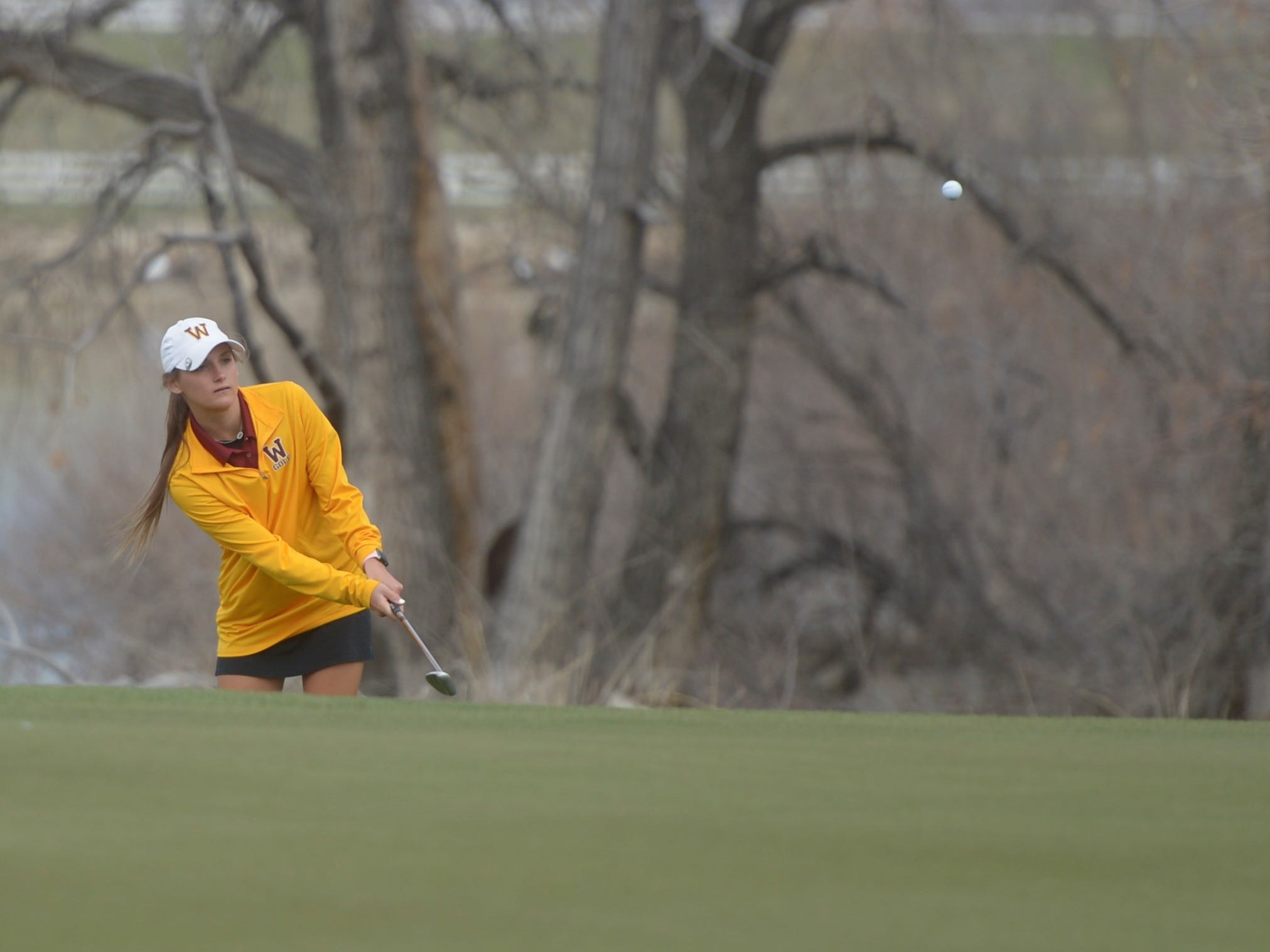 Windsor golfer Sarah Johnson chips at the Tri-Valley League match at TPC Colorado in Berthoud on Monday, April 15. Windsor won the event. It's the first Tournament Players Club course in the state.