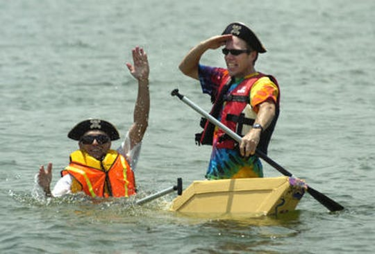 This photograph is from the 2008 Cardboard Boat Regatta.