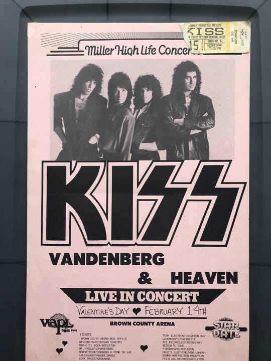 Jason Gutzman of Ledgeview still has the poster and ticket stub from the 1984 KISS show at Brown County Veterans Memorial Arena. Cost of a general admission ticket: $9.50.