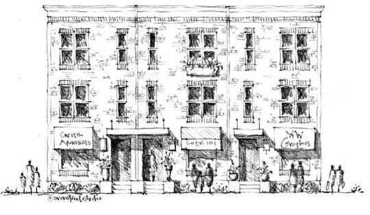 """A rendering of an affordable 'brownstone"""" style unit in the Washington West development."""