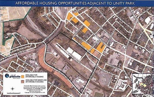 A map depicting properties donated by the city and private interests for affordable housing developments north of the footprint of Unity Park.