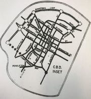 """A map of a proposed """"downtown loop"""" expressway in the early 1970s that would have run through communities west of downtown where Unity Park is planned today."""