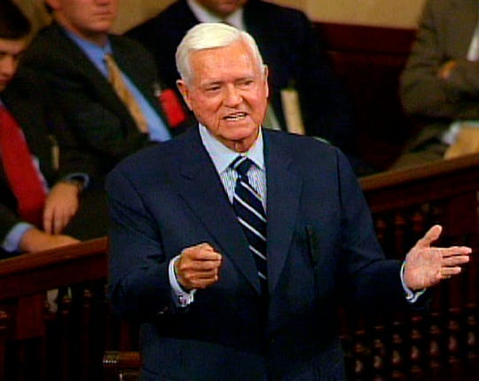 In this Nov. 16, 2004 file photo, Sen. Ernest ''Fritz'' Hollings, D-S.C., who is retiring in January, addresses the Senate on Capitol Hill in Washington, in this image from video. Hollings, a moderate six-term Democrat who made an unsuccessful bid for the presidency in 1984, has died. He was 97.