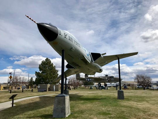 A F-101b/F Voodo was an all-weather interceptor flow by Air Defense Command's 29th Fighter Interceptor Squadron from 1960-1968. It was the first supersonic photo-reconnaissance aircraft and provided surveillance photos during the 1962 Cuban Missile Crisis. It's on display at the Malmstrom Museum.
