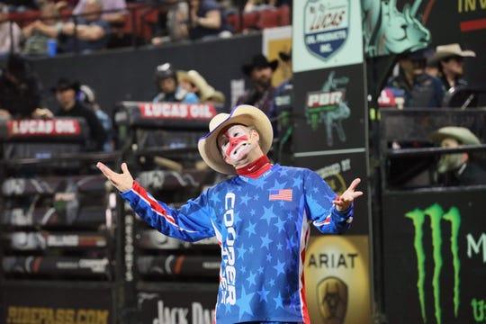 Flint Rasmussen entertains the crowd at the Professional Bull Riders stop in Billings last weekend.