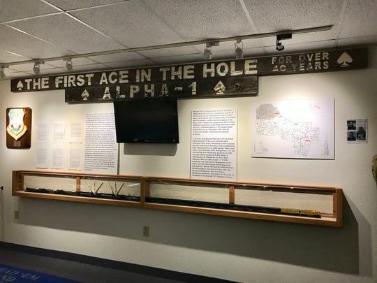 "A sign from the first missile site, near Belt, installed in time for the Cuban Missile Crisis and called President John F. Kennedy's ""ace in the hole."""