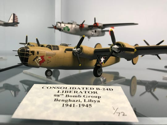 "A model of a Consolidated B-24D from the 98th Bomb Group, Benghazi, Libya, 1941-1945 is painted with ""The Witch,"" as the group named planes for a fairy tale.  The B-24 is one of scores of model airplanes at the Malmstrom Museum at Malmstrom Air Force Base."