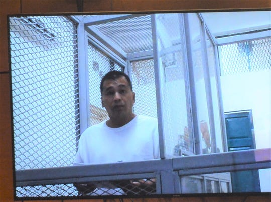 Paul Santos Mafnas Jr. attends his maigistrate's hearing through video conference April 15 in the Superior Court of Guam. Mafnas is accused of kidnapping and criminal sexual conduct in connection with the April 11 abduction of a 10-year-old girl in Tamuning.