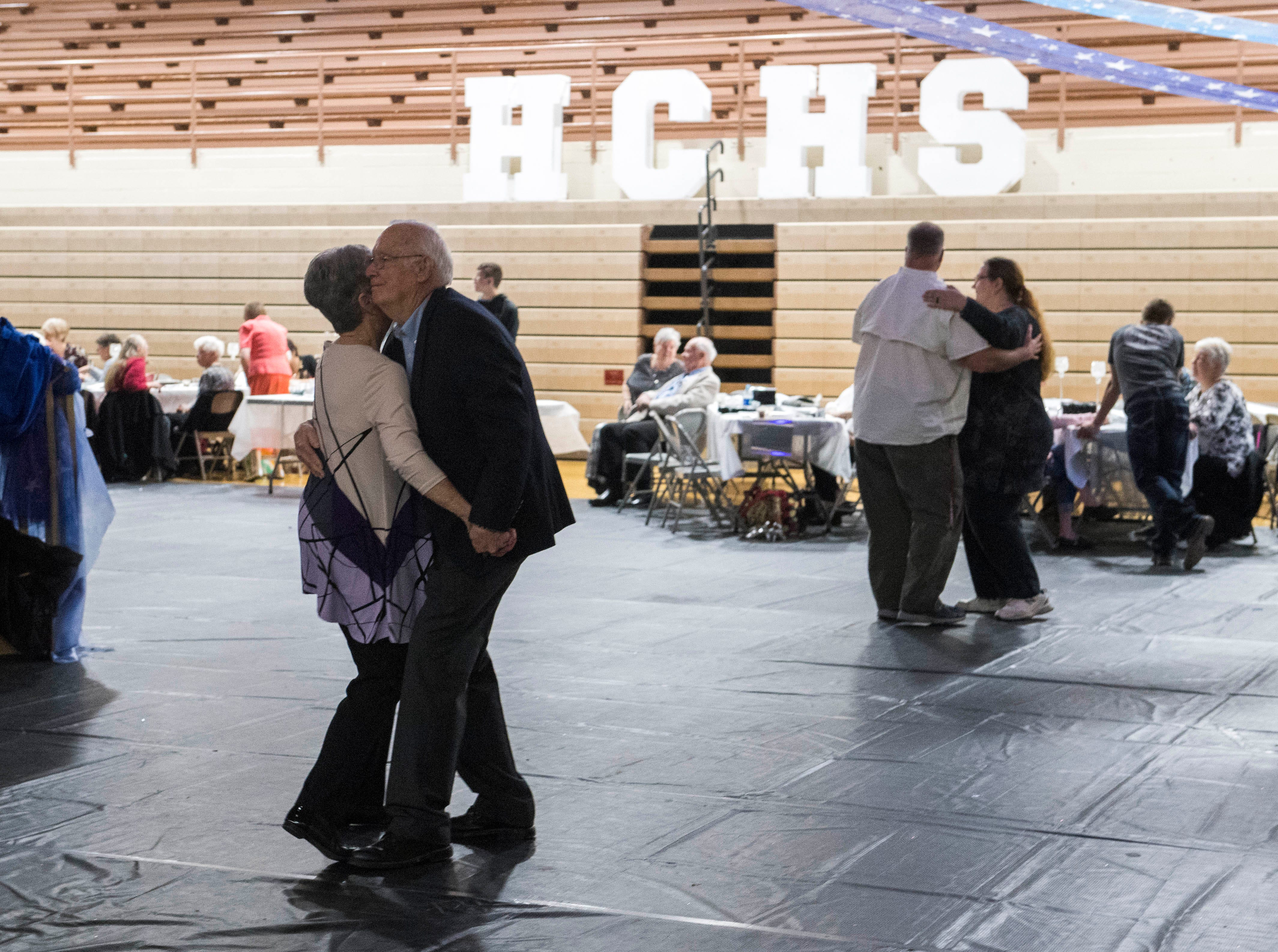 Harry and Sui Bennett slow dance during the 2019 Senior Citizen Prom at Henderson County High School Monday, April 15, 2019.