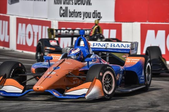 Scott Dixon races at Long Beach. He finished in third after race stewards ruled Graham Rahal blocked him on the final lap.