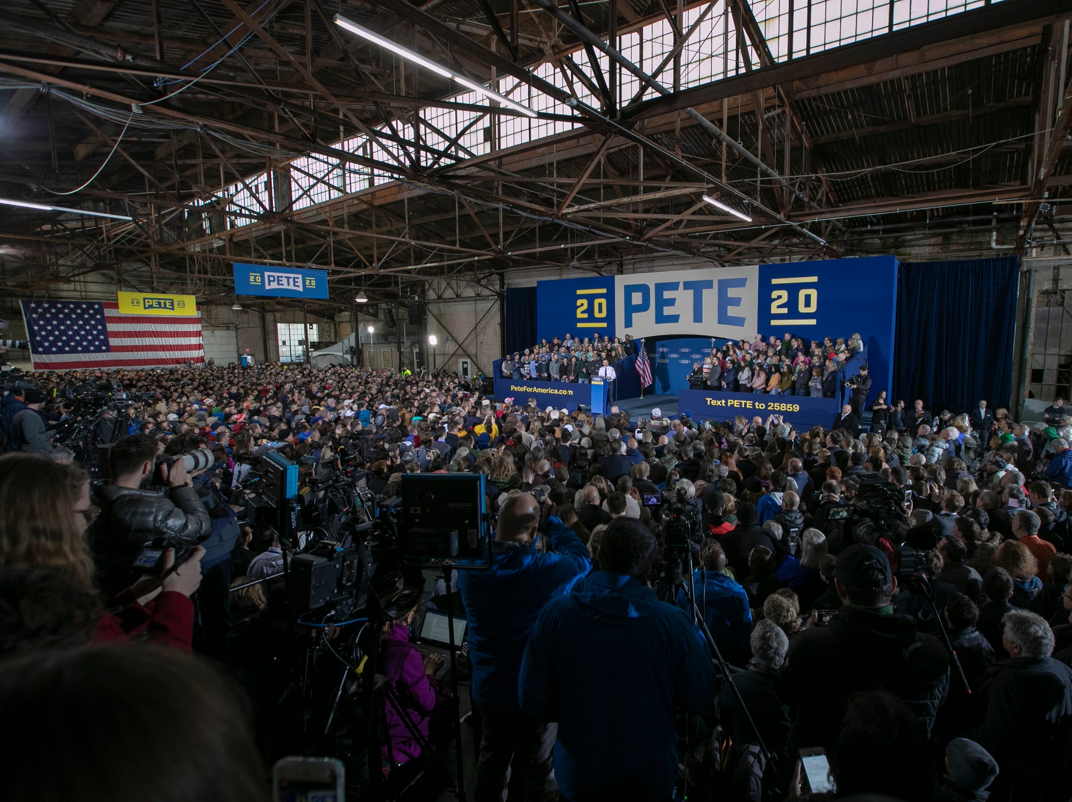 A rally for Pete Buttigieg, the Mayor of South Bend, who has announced that he is running for U.S. President, South Bend, Sunday, April 14, 2019.