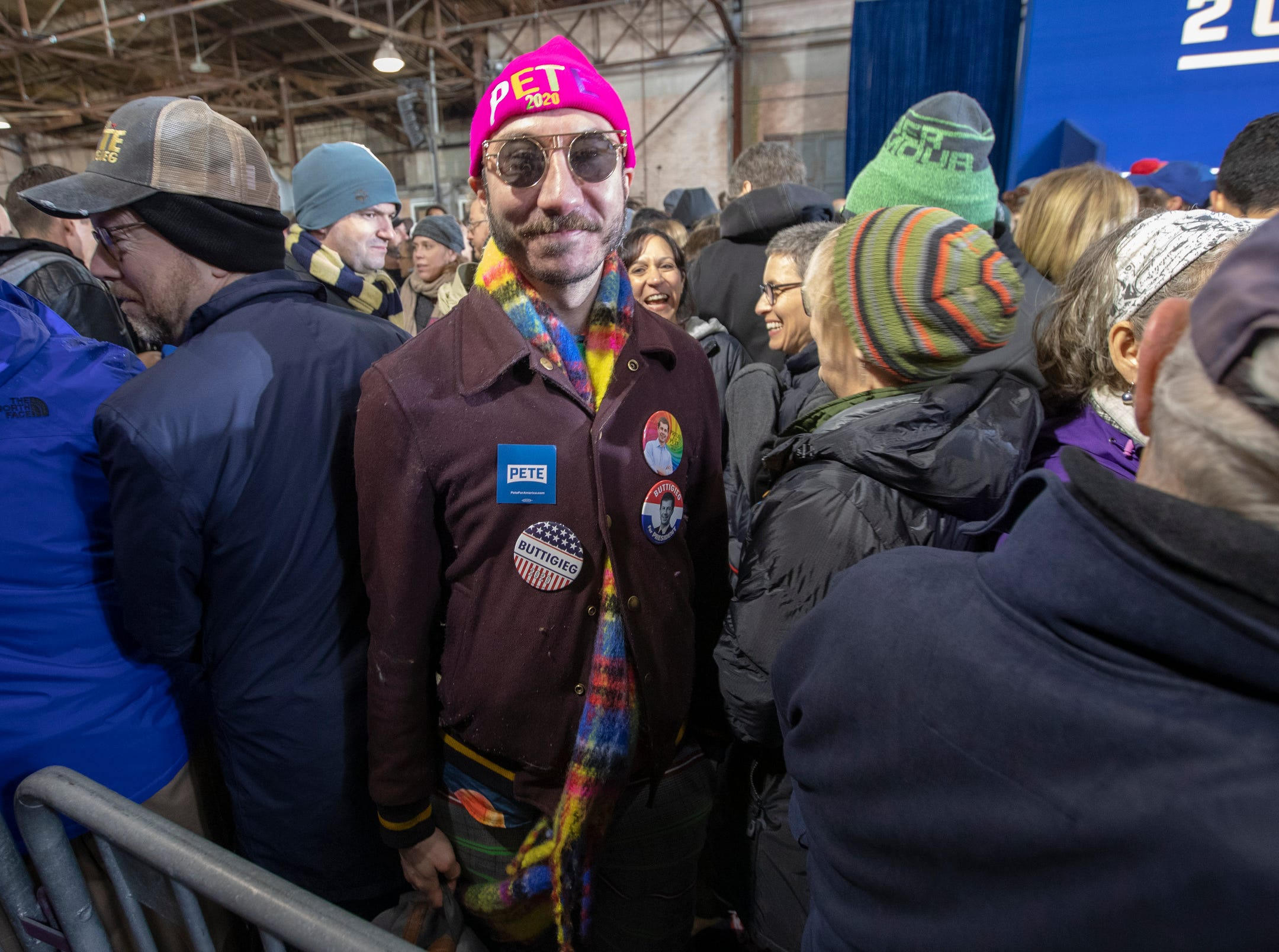 Philip Normal, an English man involved in local politics there, attends a rally for Pete Buttigieg, the Mayor of South Bend, who has announced that he is running for U.S. President, South Bend, Sunday, April 14, 2019.