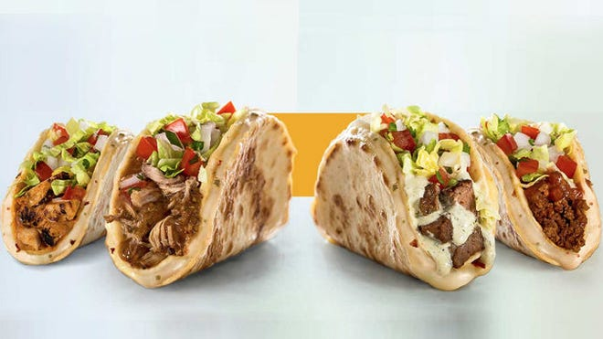 Taco John's cheese quesadilla tacos are quesadillas folded like taco shells and loaded with steak, carnitas, chipotle-seasoned chicken or ground beef.