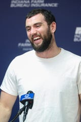 "Indianapolis Colts quarterback Andrew Luck talks about his offseason at the Indiana Farm Bureau Football Center in Indianapolis, Monday, April 15, 2019. When asked about his recent wedding, Luck said, ""It was the best day of my life and probably the best offseason I've ever had."""