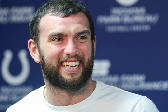 """Indianapolis Colts quarterback Andrew Luck talks about his offseason at the Indiana Farm Bureau Football Center in Indianapolis, Monday, April 15, 2019. When asked about his recent wedding, Luck said, """"It was the best day of my life and probably the best offseason I've ever had."""""""