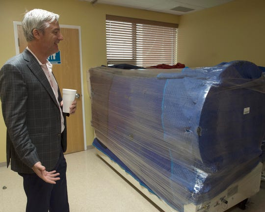 Former Jackson Ward 1 Councilman Quentin Whitwell looks at new, but yet to be used, hyperbaric chamber equipment in the sleep medicine department of the Panola Medical Center where he serves as chairman of the board. Within a month, Whitwell says he wants to have physical therapy at the hospital. Next, they plan on branching into wellness and increasing preventative health services. Thursday, April 4, 2019.
