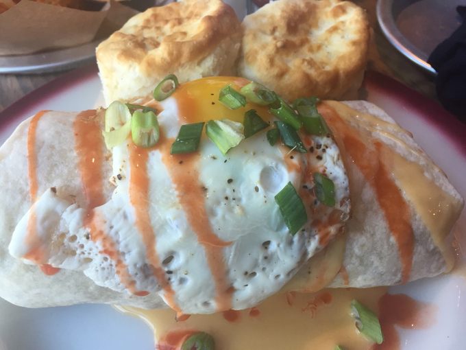 Blake Shelton's Ole Red in Gatlinburg offers the Big-Ass Country Burrito, topped with a fried egg and accompanied by beer cheese sauce.