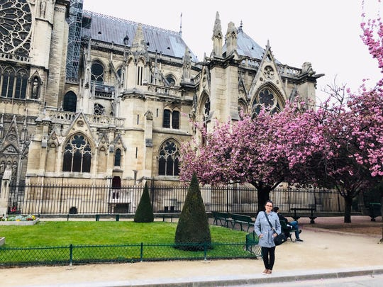 Cristiane Davis of Knoxville visited Notre Dame less than a week before it caught fire. Though the cathedral was not open while she visited, she spent two hours enjoying the gardens and courtyard.