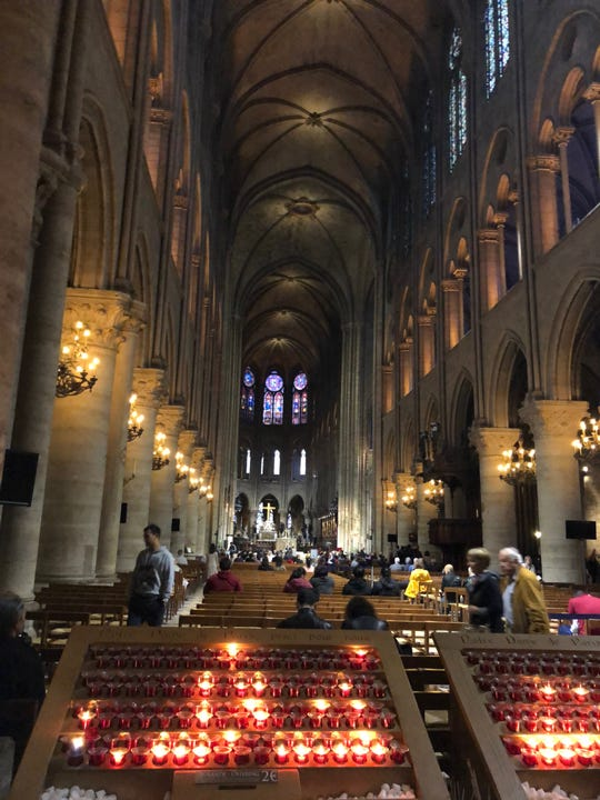An interior shot of Notre Dame Cathedral in Paris from September 2018.
