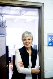 Sandra Fugate, executive director, poses for a photo at the Center for English inside West Lonsdale Baptist Church in Knoxville, Tennessee on Monday, April 15, 2019. Run by a handful of unpaid volunteers with no grant funding and a budget patched together by community goodwill donations, the center serves over 200 refugees to teach them English and American customs inside a space provided to them by the church.