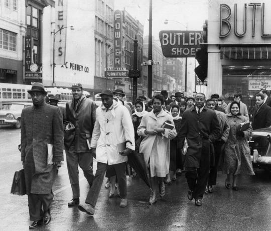 In the front row, from left, are Knoxville College students Warren Brown, Bob Booker, Olin Franklin, Lucille Thompson, Aaron Allen, John Dean and Georgia Walker, who were participating in a civil rights demonstration in March 1960. Booker is today a Knoxville historian and former director of the Beck Cultural Exchange Center.