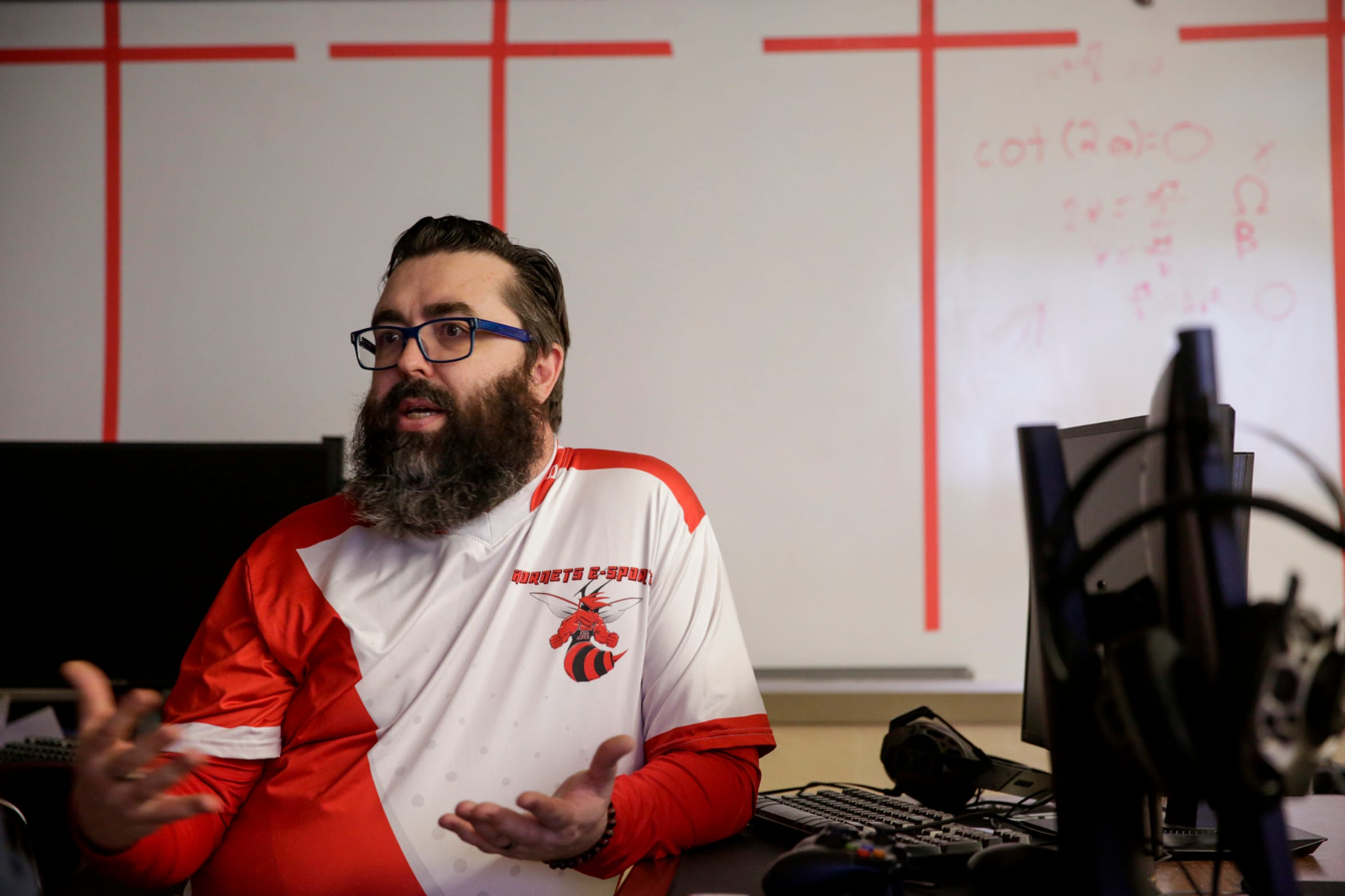Ben Underwood, esports coordinator, talks about the club and one of the students signing to play with a local university, Monday, April 15, 2019, at Rossville High School in Rossville. Nolan Starkey signed his letter of intent to play esports at Trine University in Angola, Ind.