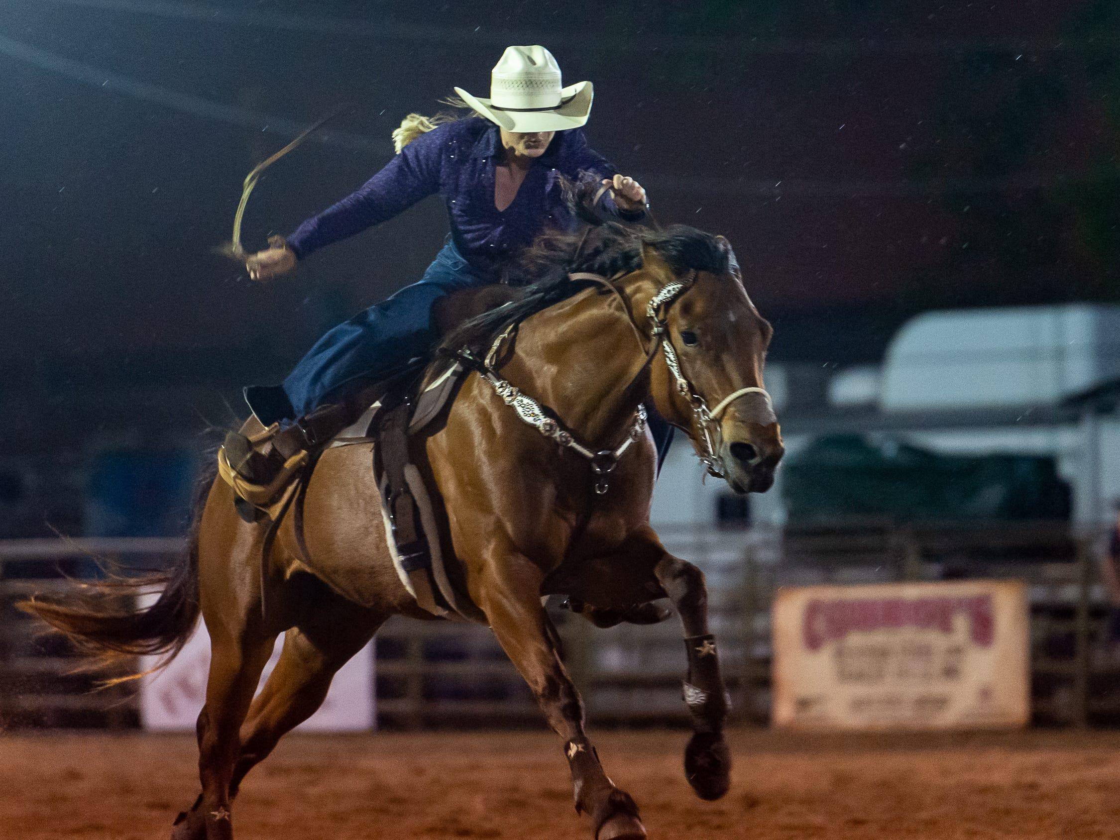 Barrel Racer Meagan Laviolette as the Cajun Rodeo Association host the Cowboys Spring Stampede 19 Rodeo at Cowboys Arena in Scott, LA. Saturday, April 13, 2019.