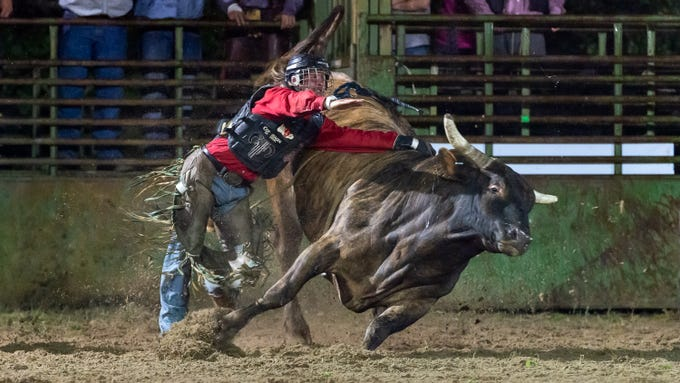 Bull Rider Jay Samanie as the Cajun Rodeo Association host the Cowboys Spring Stampede 19 Rodeo at Cowboys Arena in Scott, LA. Saturday, April 13, 2019.