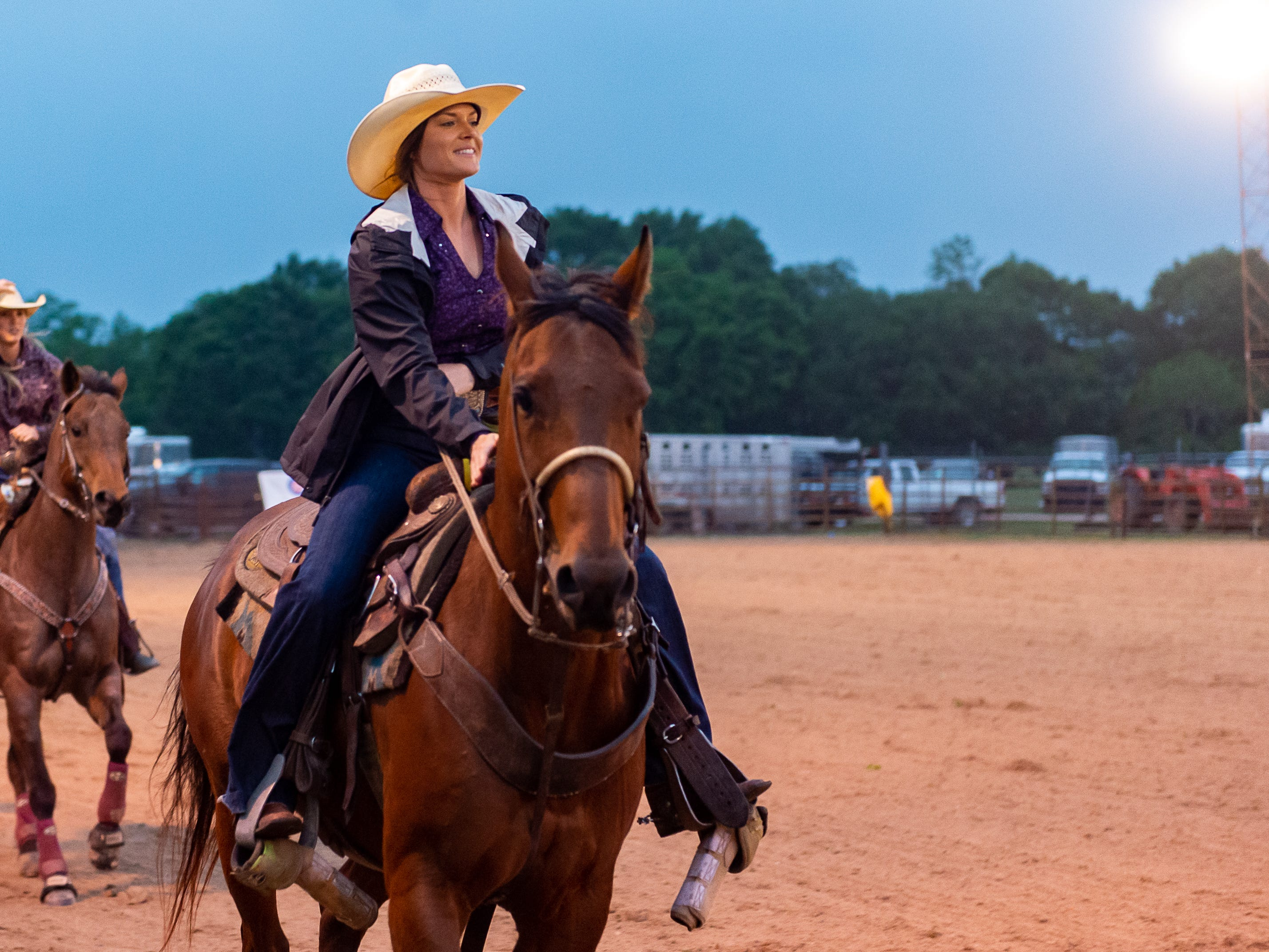 Professional Barrel Racer Meagan Laviolette during the grand entry as the Cajun Rodeo Association host the Cowboys Spring Stampede 19 Rodeo at Cowboys Arena in Scott, LA. Saturday, April 13, 2019.
