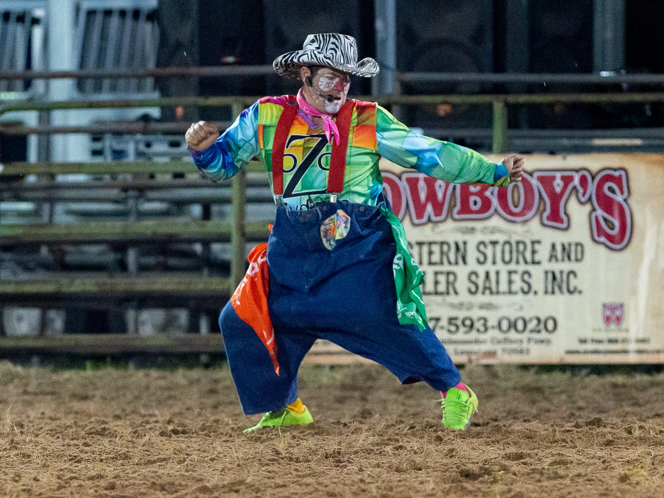Rodeo Clown Heath Breaux as the Cajun Rodeo Association host the Cowboys Spring Stampede 19 Rodeo at Cowboys Arena in Scott, LA.. Friday, April 12, 2019.
