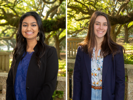 Sheila Mallenahalli, left, and Madelyn Smith were named to LSU's Tiger Twelve Class of 2019.