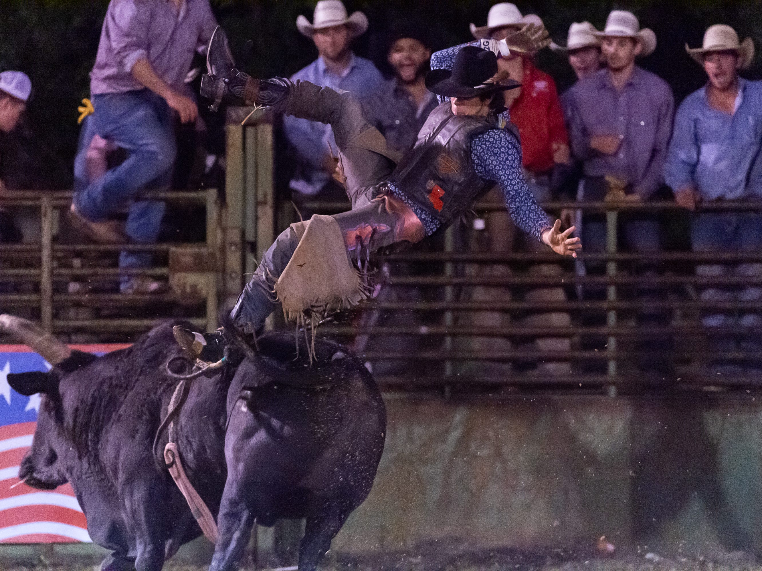 Kasen Goulas gets bucked off as the Cajun Rodeo Association host the Cowboys Spring Stampede 19 Rodeo at Cowboys Arena in Scott, LA. Saturday, April 13, 2019.