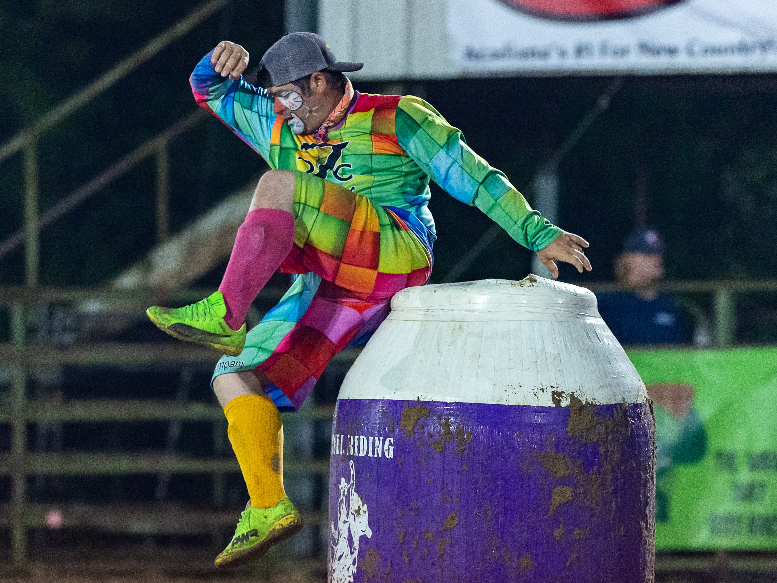 Rodeo Bullfighter Heath Breaux as the Cajun Rodeo Association host the Cowboys Spring Stampede 19 Rodeo at Cowboys Arena in Scott, LA. Saturday, April 13, 2019.