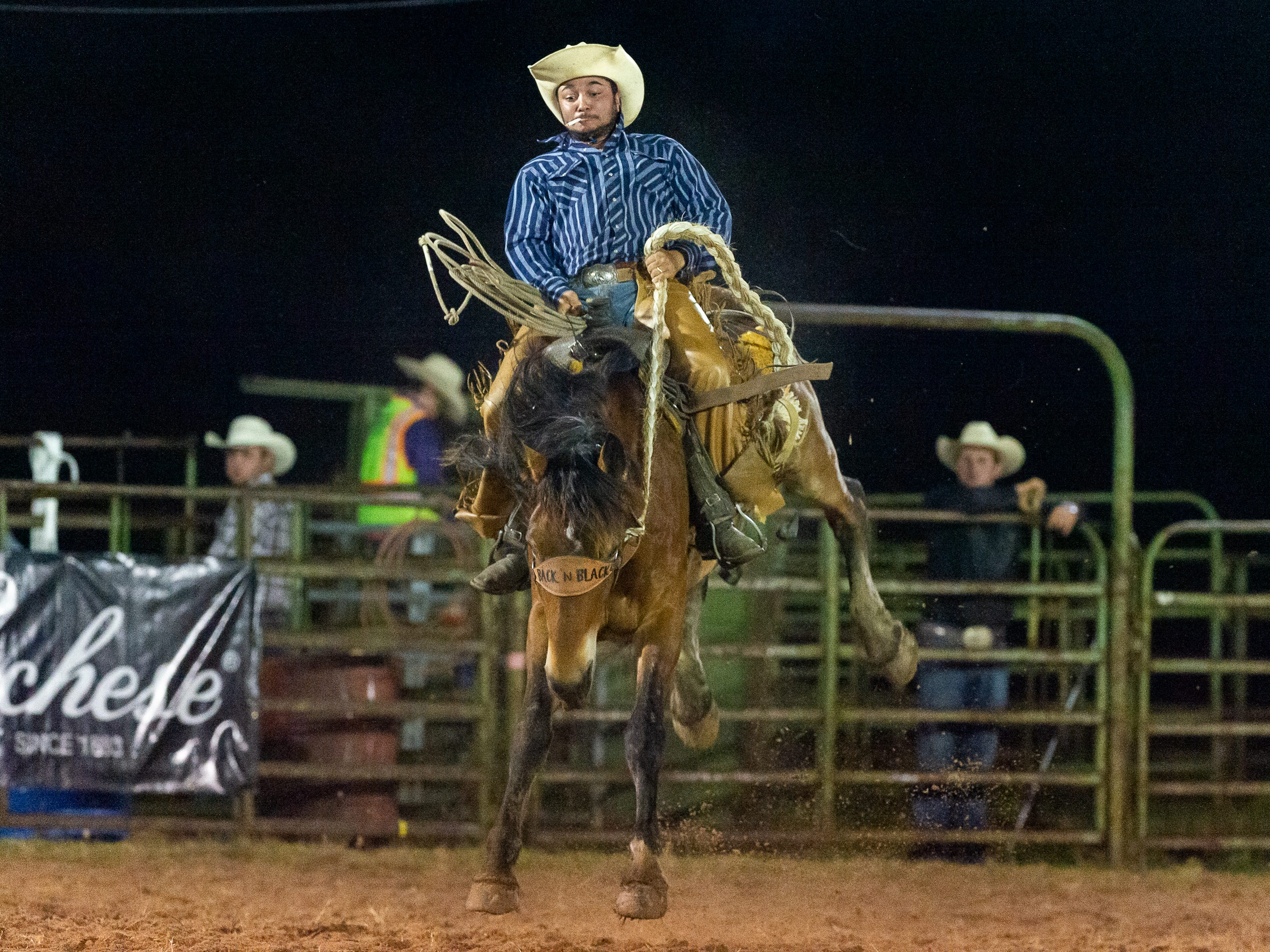Bronc rider James Zeno as the Cajun Rodeo Association host the Cowboys Spring Stampede 19 Rodeo at Cowboys Arena in Scott, LA.. Friday, April 12, 2019.