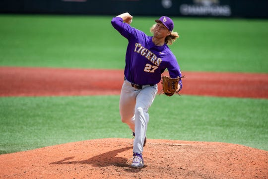 LSU pitcher Matthew Beck delivers the ball during a baseball game.