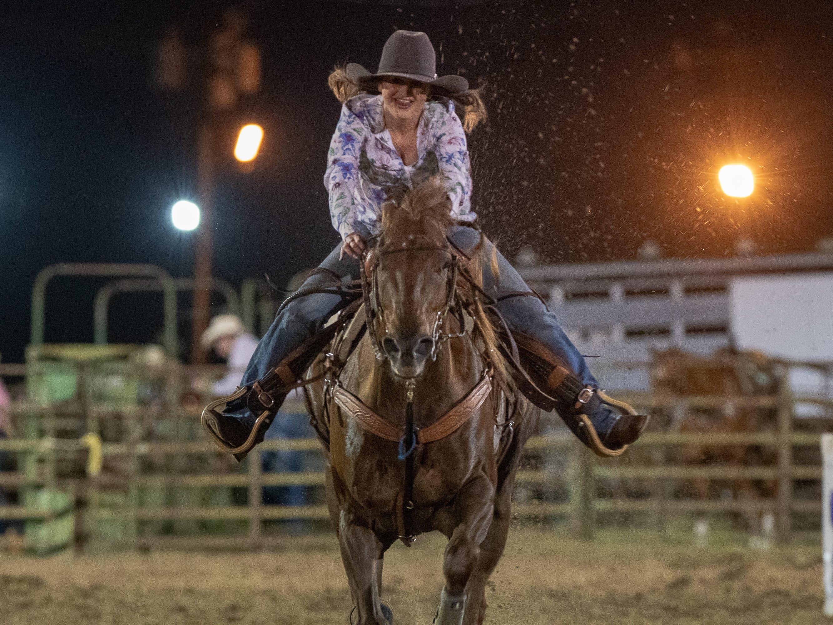 Barrel Racer Kelsey Jackson as the Cajun Rodeo Association host the Cowboys Spring Stampede 19 Rodeo at Cowboys Arena in Scott, LA.. Friday, April 12, 2019.