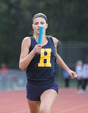 Hartland's Lindsey Strutz was on two winning relays and won two individual events at the Blue Devil Relays.