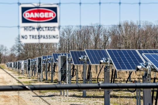 A solar operation on Nixon Road south of Mount Hope Highway on Monday, April 15, 2019, in Delta Township. Eaton County passed an zoning amendment aimed at addressing solar operations in rural areas in March. Now those opposed aim to put it before voters.
